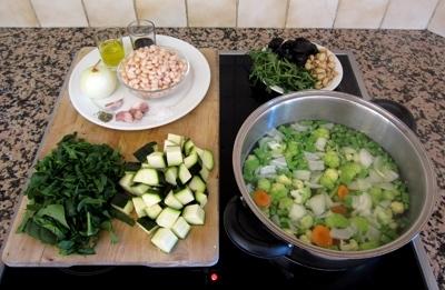 Зеленый крем-суп с фасолью