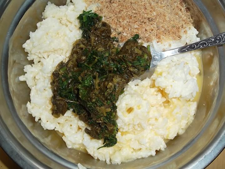 Запеканка из риса с щавелем