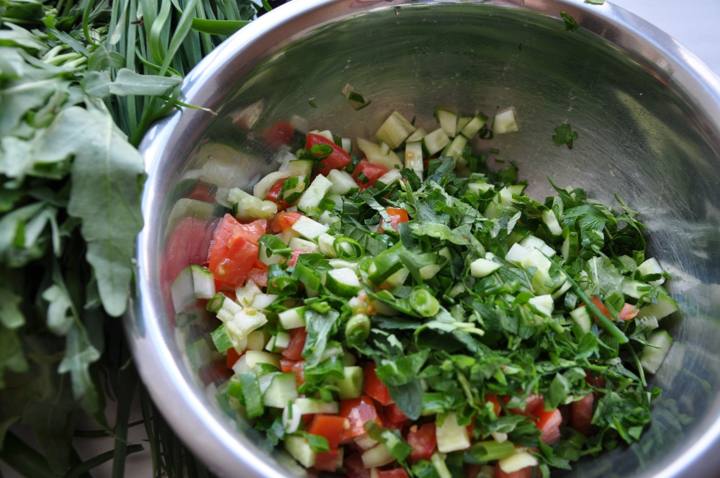 Зеленый салат с булгуром