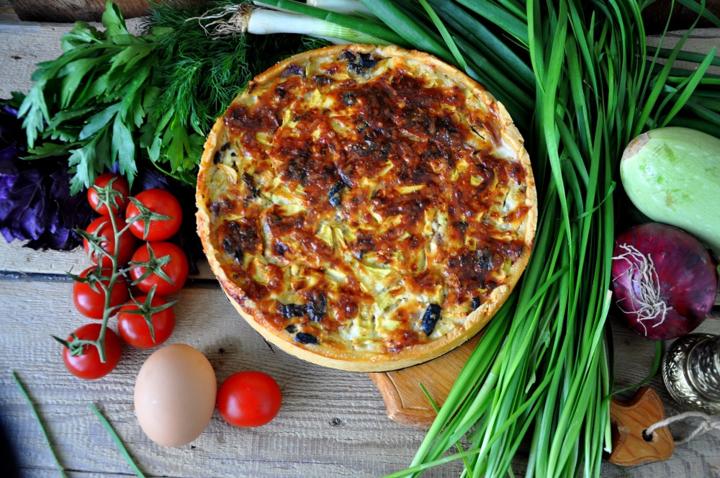 Пирог с творожно-овощной начинкой