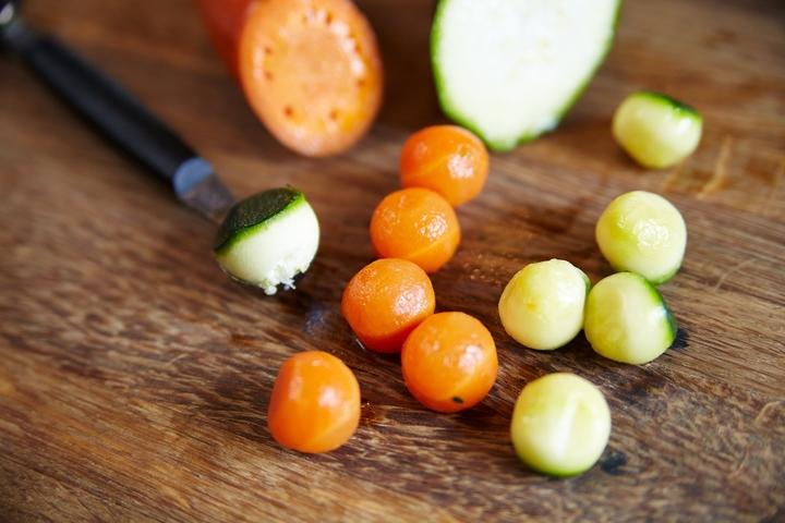 Телятина с овощами и чоризо