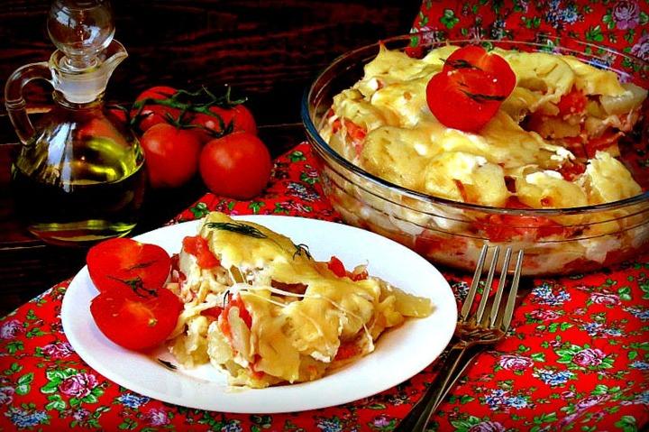 Запеканка из картофеля и форели